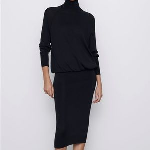 Zara fitted skirt knit dress turtleneck bloggers f